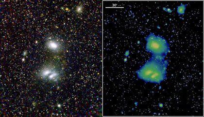 Galaxias en interacción A3391/3395 captadas por eROSITA.