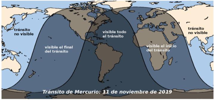 Visibilidad del tránsito de Mercurio el 11 de noviembre