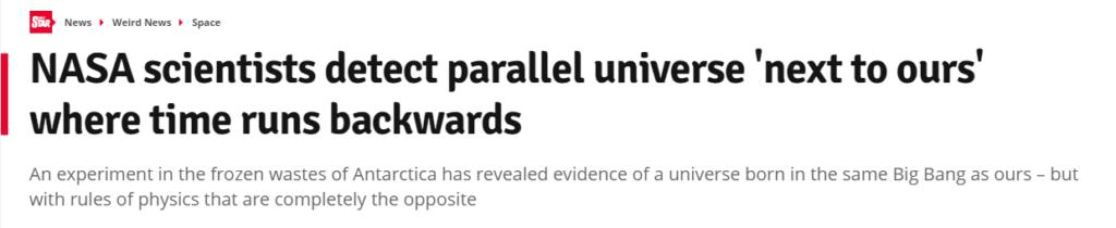 Uno de los primeros titulares en afirmar que la NASA ha encontrado un universo paralelo